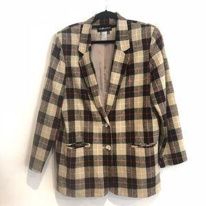 Sag Harbor Tan Black Plaid Linen Jacket 12